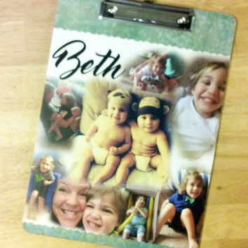 Photo Collage, Photo Collage Clipboard, Personalized Clipboards, Clipboard, Clip Board, Wood Clipboard, Office Supplies, Office Organizer