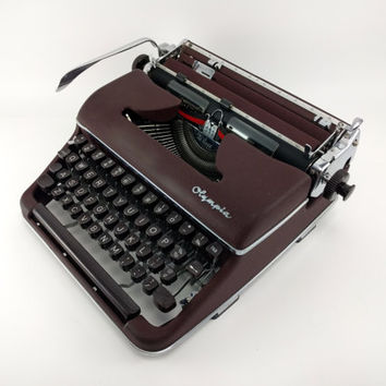Reconditioned Red / Maroon Olympia SM3 Manual Typewriter - Rare Color- Vintage Olympia Typewriter - Nearly Flawless Condition