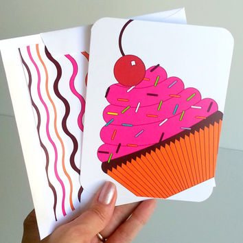 Cupcake Birthday Greeting Card Girly Happy Birthday Card Lined Envelope Birthday Celebration Card Happy Bday Note Fun Colorful Birthday