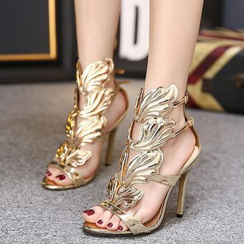 Favorite luxury metal wings, with super high heel sandals