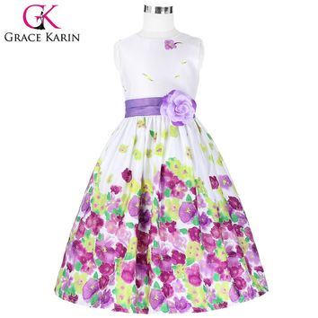 Grace Karin Lavender Floral Pattern Flower Girl Dresses Ball Gowns for Children Kids Wedding Party Pageant Dresses Girl