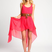 Hi Low Belted Chiffon Dress