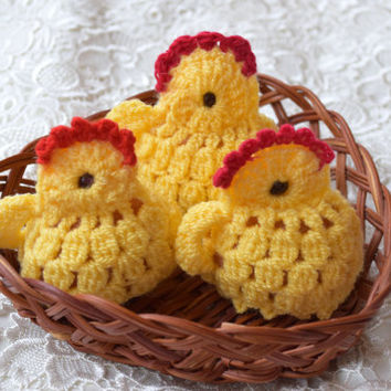 Easter crochet chicken Easter egg decoration Set of 3 egg cover chicks cozy yellow egg warmers kitchen decor spring decor Easter gift