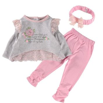 Long Sleeve Baby Girl Clothes Set Cotton Lace Baby Girl Clothing Sets High Quality Infant Clothing