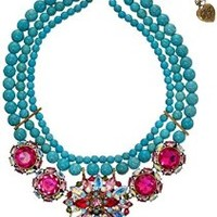 "Betsey Johnson ""Turqs and Caicos"" Mixed Faceted Bead Semiprecious Turquoise Necklace, 16''+3'' Extender"