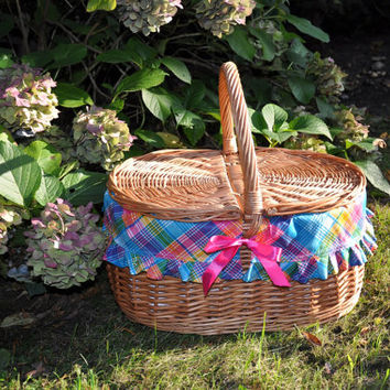 Willow picnic basket, new wicker picnic baskets, hand woven, gift for wedding, decorative picnic basket, couples gifts
