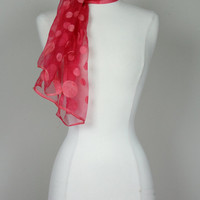 1950's red scarf in polka dot sheer chiffon long neck scarf or head scarf