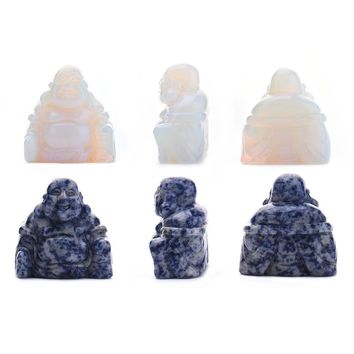 Maitreya Carved Jade Buddha Stone Home Decoration Ornaments Buddhism Stress Relieving Healing Gemstone Home Decoration