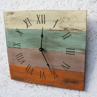 Pallet Wood Clock, Beach House style...ReCycled wood...distressed roman numerals...Custom Order