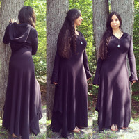 Black Boho/Maxi Thermal Hooded Dress with Extra Long Sleeves S/M