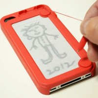 Creative Writing drawing doodle scribble board pad iphone 4 4s case cover Red