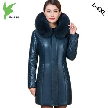 Plus size 6XL Middle aged Women Leather Cotton Jacket Coat Winter Warm Parkas Thicker Hooded Jacket Boutique Cotton Coats OKXGNZ