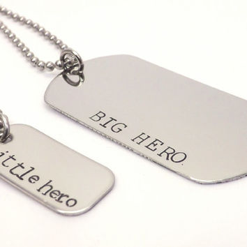Big Hero, Little Hero Father and Son or Daughter Dog Tag Necklace Set, Fathers Day, Military, Deployment Jewelry by Miss Ashley Jewelry