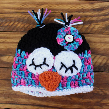 Crochet Owl Black/Turquoise/Pink Infant Set - Hat, Diaper Cover, Leg Warmers - Size 0-3 Months