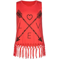Full Tilt Arrow Love Girls Tank Pink  In Sizes
