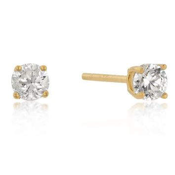 4mm Yellow Gold Plated Sterling Silver Round Cut Stud Earrings