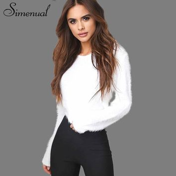 Simenual Fashion mohair knit sweater crop jumpers slim sexy solid basic women sweaters and pullovers knitwear autumn winter new