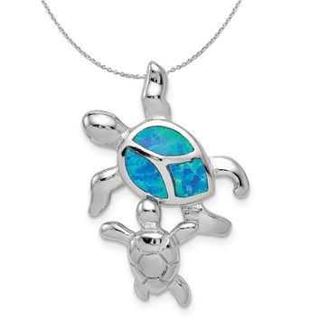 Sterling Silver and Created Opal Sea Turtles Necklace