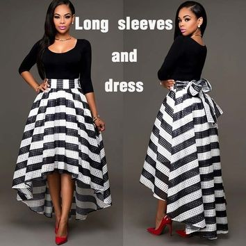 2PCS Women Sexy Long Striped Evening Formal Party Cocktail Dress Bridesmaid Prom Gown Size:S-XXXXL