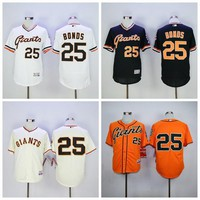 New SF 25 Barry Bonds Jersey Flexbase San Francisco Giants Barry Bonds Baseball Jerseys 1989 Retro Cool Base White Grey Orange Cream Black