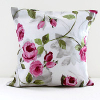 Rose print pillow cover , 16 inch cushion cover in pink rose print fabric , cottage style cushions UK seller
