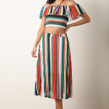 Striped Halter Crop Top with Midi Pleated Skirt Set