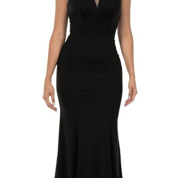 Cap Sleeved Black Long Formal Dress V-Neck and Back