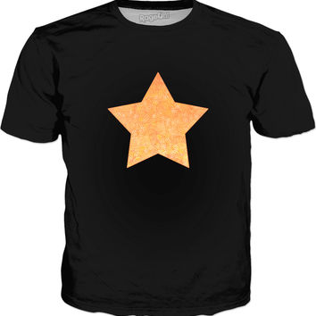 Ombre yellow and orange swirls doodles star Classic T-Shirt Black