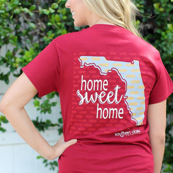 Southern Darlin Florida State Home Sweet Home FL Pattern Arrow Bright Girlie T-Shirt