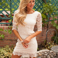 Accidentally In Love Scalloped Lace Dress Ivory