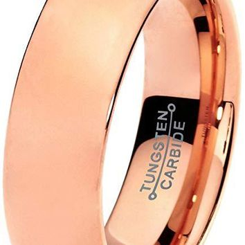 18K Rose Gold Tungsten Wedding Ring for Men Comfort Fit With Plated Domed Polished - 7mm