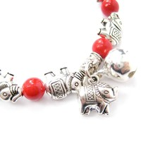 African Elephant Shaped Stretchy Beaded Charm Bracelet in Silver | DOTOLY