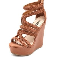 Zip-Back Braided Gladiator Wedge: Charlotte Russe