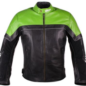 MotoArt Racing Pro Series I Green & Black Perforated Biker Motorcycle Leather Jacket