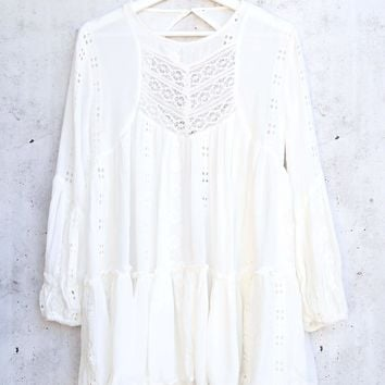 Free People Kiss Kiss Lace Tunic in Ivory