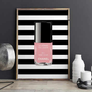 PRINTABLE Art,NAIL POLISH,Makeup Illustration,Coco Chanel Print,Girls Room Decor,Bathroom Decor,Nail Polish Rack,Coco Chanel Decor,Gift Her