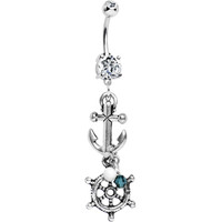 Handcrafted Nautical Ship Wheel Anchor Dangle Belly Ring | Body Candy Body Jewelry
