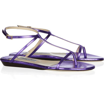 Jimmy Choo Fiona metallic crushed-leather sandals – 64% at THE OUTNET.COM