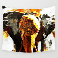 INDI ELEPHANT Wall Tapestry by Maioriz Home
