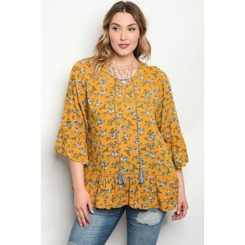 Walk In The Meadows, Mustard Floral Top