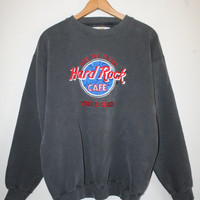 HARD ROCK SWEATSHIRT // size medium // 90s // pullover // worn // faded // cafe // myrtle beach // black // vintage!