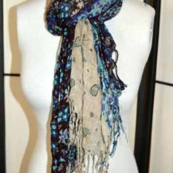 Scarf Purple-Blue-Khaki Paisley