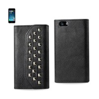 Reiko REIKO IPHONE SE/ 5S/ 5 STUDS WALLET CASE IN BLACK
