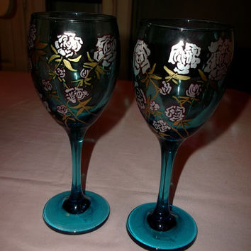 Blue Wine Glasses with Silver and Gold Painted Roses Wedding Anniversary New Years Christmas Holiday Home Decor Unique Gift