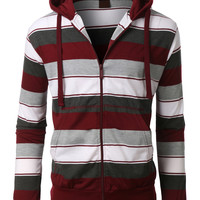 LE3NO Mens Classic Full Zip Up Striped Hoodie Sweatshirt with Pockets (CLEARANCE)