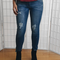 Frayed Hem Distressed Blue Jeans