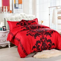 2017 New Arrival Red/Black Bedding Europe Style Duvet Cover Sets Bed Cover King Size Bedding set