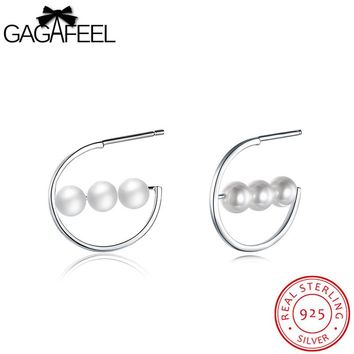 GAGAFEEL Imitation Pearl Earrings For Women Pending Stud Ear Jewelry With Three Round Ball High Quality Accessory Dropshipping
