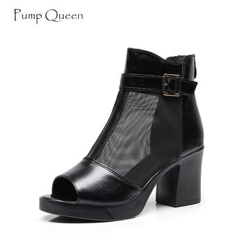PumpQueen Sandals Women Shoes Peep Toe High Heels Real Leather Metal Buckle Black Sexy Summer Woman Mesh Black Female Sandals