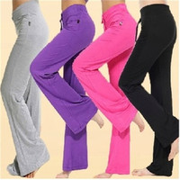 Womens Soft Comfort Cotton Spandex Yoga Sweat Lounge Gym Sports Athletic Pants = 5697945793